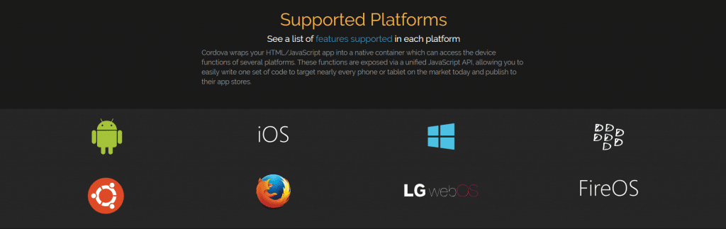 here are cordova supported platforms